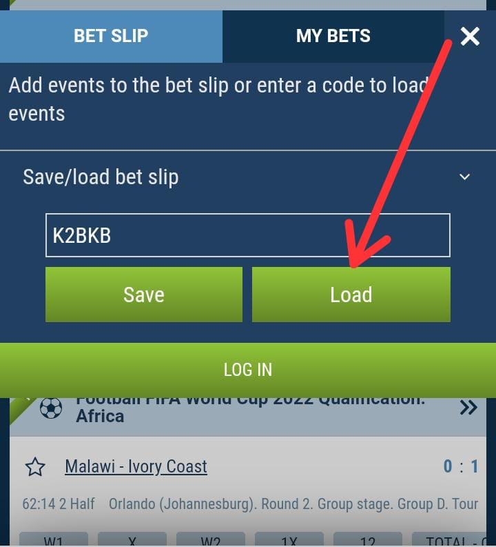 How to load bet slip code on 1xbet